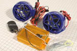 Колонки 2шт (синие) +МРЗ-USB/SD+FM-радио+пультДУ+сигнализация