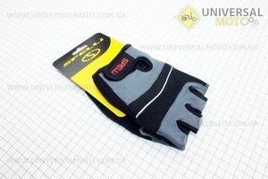 Перчатки без пальцев L-черно-серые, с гелевыми вставками под ладонь SCG-345