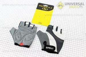 Перчатки без пальцев L-серо-белые, с гелевыми вставками под ладонь SCG-358