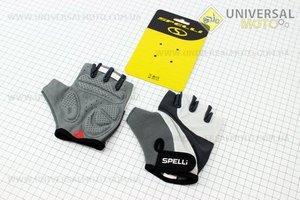 Перчатки без пальцев M-серо-белые, с гелевыми вставками под ладонь SCG-358