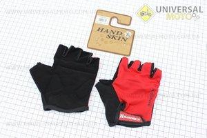 Перчатки без пальцев XL-черно-красные, с мягкими вставками под ладонь