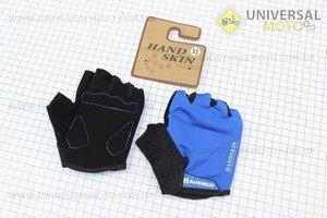 Перчатки без пальцев XL-черно-синие, с мягкими вставками под ладонь