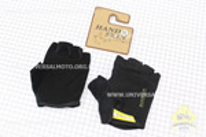 Перчатки без пальцев XL-черные, с мягкими вставками под ладонь